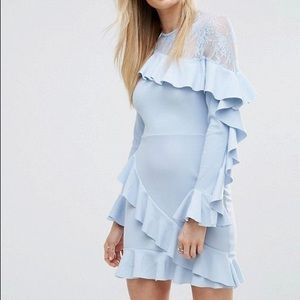 Asos missguided lace ruffle dress